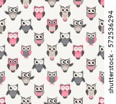 seamless pattern with owls | Shutterstock .eps vector #572536294