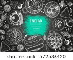 indian cuisine top view frame.... | Shutterstock .eps vector #572536420