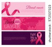 set of breast cancer awareness... | Shutterstock .eps vector #572537323