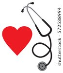 doctor s stethoscope and heart...   Shutterstock .eps vector #572538994