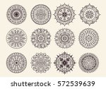 twelve circular ornaments.... | Shutterstock .eps vector #572539639