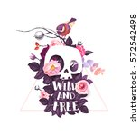 wild and free lettering.... | Shutterstock .eps vector #572542498