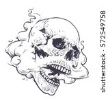 vaping skull art vector... | Shutterstock .eps vector #572549758