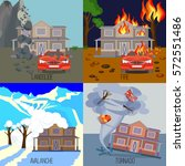 set of natural disasters... | Shutterstock .eps vector #572551486