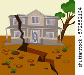 earthquake damaged house and... | Shutterstock .eps vector #572552134