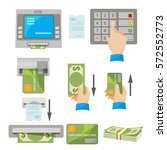 atm usage concept vector set.... | Shutterstock .eps vector #572552773