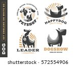 Stock vector set logo illustration dog pet emblem design on white background 572554906