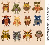 cartoon colorful owls and... | Shutterstock . vector #572558443