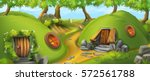 fairy tale village. leprechaun... | Shutterstock .eps vector #572561788