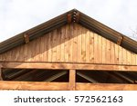 wooden roof as background | Shutterstock . vector #572562163
