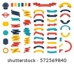Ribbon vector icon set on white background. Banner isolated shapes illustration of gift and accessory. Christmas sticker and decoration for app and web. Label, badge and borders collection. | Shutterstock vector #572569840