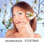 beautiful brunette with white... | Shutterstock . vector #57257845
