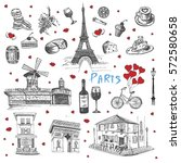 vector france hand drawn... | Shutterstock .eps vector #572580658