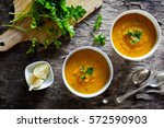 couple of bowls of homemade soup | Shutterstock . vector #572590903