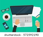 workplace with person working... | Shutterstock .eps vector #572592190