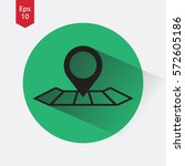 mark on map. simple flat icon.... | Shutterstock .eps vector #572605186