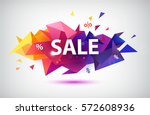 vector sale faceted 3d banner ... | Shutterstock .eps vector #572608936