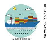 freight ship flat outline... | Shutterstock .eps vector #572611018