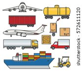 freight transport icons set.... | Shutterstock .eps vector #572611120