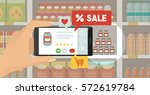 man doing grocery shopping at... | Shutterstock .eps vector #572619784