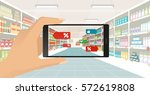 man doing grocery shopping at... | Shutterstock .eps vector #572619808