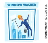 profesional worker cleaning... | Shutterstock .eps vector #572621116