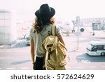 girl in hat with backpack... | Shutterstock . vector #572624629