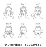 steps how to apply facial sheet ... | Shutterstock .eps vector #572629663