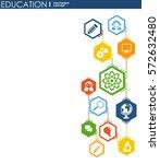 education network. hexagon... | Shutterstock .eps vector #572632480