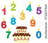 birthday vector set of candles... | Shutterstock .eps vector #572637463