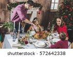 happy family of four having... | Shutterstock . vector #572642338