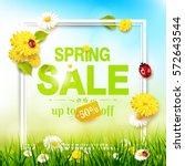 spring sale flyer   sunny... | Shutterstock .eps vector #572643544