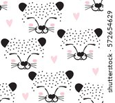 Stock vector seamless leopard face pattern vector illustration 572654629