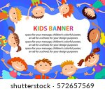 many kids around the banner ... | Shutterstock .eps vector #572657569