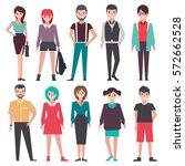 people. set. flat vector... | Shutterstock .eps vector #572662528