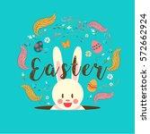 happy easter  typography  bunny ...   Shutterstock .eps vector #572662924