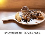 belgian waffles with fruit and... | Shutterstock . vector #572667658