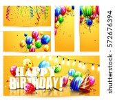collection of birthday party... | Shutterstock .eps vector #572676394