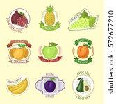 vector fruits badges. | Shutterstock .eps vector #572677210