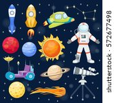 astronomy space rocket cartoon... | Shutterstock .eps vector #572677498