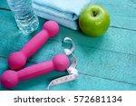 fitness equipment. healthy food ... | Shutterstock . vector #572681134