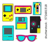 fashion patch badges with game  ... | Shutterstock .eps vector #572681518