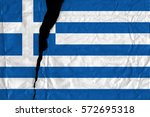 torn and grunge flag of greece. | Shutterstock . vector #572695318