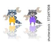 cute raccoon dressed up in...   Shutterstock .eps vector #572697808