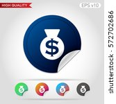 money bag icon. button with...
