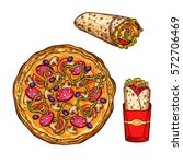 fast food sketch icons. vector... | Shutterstock .eps vector #572706469