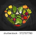 fresh vegetable heart shape... | Shutterstock .eps vector #572707780