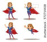 woman super hero set  character ... | Shutterstock .eps vector #572714428