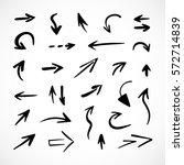 hand drawn arrows  vector set | Shutterstock .eps vector #572714839