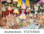 lollipops and sweets sale at... | Shutterstock . vector #572715424